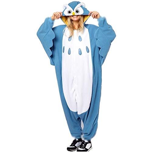 Anbelarui Tier Skelett Pinguin Dinosaurier Panda Einhorn Kostüm Damen Herren Pyjama Jumpsuit Nachtwäsche Halloween Karneval Fasching Cosplay Kleidung S/M/L/XL (XL, Eule)