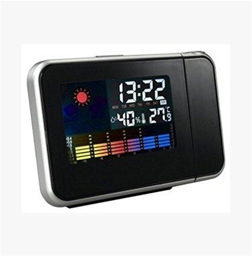 AIZIJI Previsión meteorológica Bell Proyección Pantalla Color Clima Temperatura y Humedad Reloj Despertador de Proyección Calendario Reloj Alarma 146x56x11mm