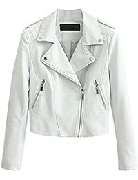8c7d03487ec865 Giacca Pelle Donna it Abbigliamento Bianca Amazon w08xYq4n