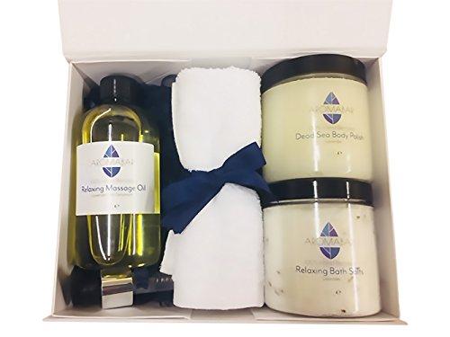 Spa Ausgleichendes Pamper Geschenk Set beinhaltet Lavendel & Geranie Körper Massageöl, Lavendel Badesalz aufweichen, Lavendel Totes Meer Körperpeeling Politur angereichert mit
