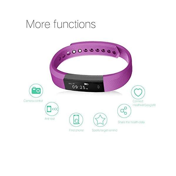 Arbily Pulsera Inteligente, Fitness Tracker Smart Wristband Bracelet monitorear la Actividad de Seguimiento de BOT¨®n t¨¢ctil de Bluetooth Pulsera Brazalete Deportivo Impermeable IP66 de la Aptitud 3