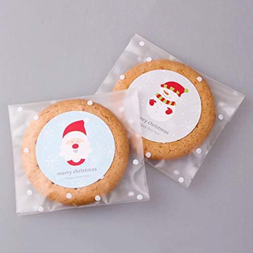 Keksbeutel, Keksbeutel, Süßigkeitenbeutel, Selbstklebende Weihnachten, DIY Zellophan, Party, Süßigkeiten, Geschenktüten, 10 * 15cm+3cm ()
