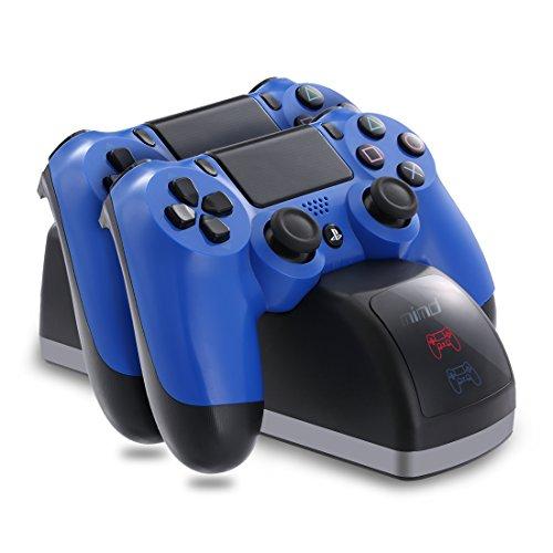 JAMSWALLCargados para Mando PS4, Estación de carga para mando DualShock 4 ,carga rapida doble, Base de Carga, Cargador con LED para Mando de PlayStation /PS4 /PS4 Slim /PS4 Pro Gamepad
