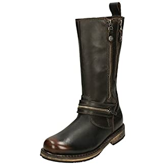 Harley Davidson SACKETT Ladies Leather Zip Up Mid Calf Boots Brown 4