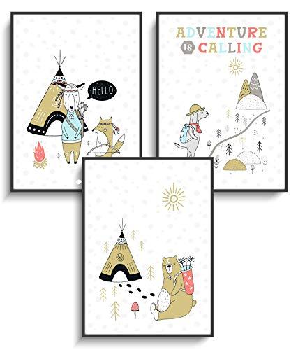 Kunstdruck DIN A4 Wandbilder 3er Set Skandinavisches Design 11 Wanddeko ohne Rahmen Modern Motiv Tipi Zelt Bär Fuchs Tiere Kinderzimmer Kind Wohnung