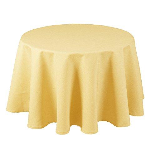 Maltex24 Textil Tischdecke - Leinen Optik - wasserabweisend Rund - Farbe Größe wählbar (Gelb, 160 cm) (Große, Runde Tischdecken)