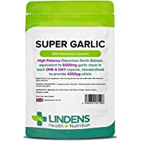 Lindens Super Garlic 6000mg High Strength Capsules | 365 Pack | High potency odourless Garlic Extract, equivalent to 6000mg garlic clove in each one a day capsule, standardised to provide 4200_g allicin