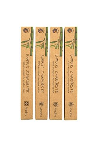 Bambus Zahnbürste 4er-Set ♻️ vegan und biologisch abbaubare Holz Zahnbürste mit Naturborsten ♻️ in umweltfreundlicher Recyclingverpackung ♻️ Zahnbürste aus Bambus von Madhu - 4