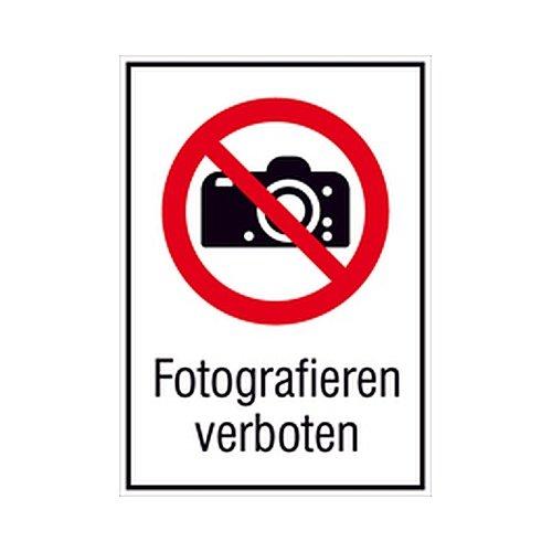 Aufkleber Fotografieren verboten gemäß DIN 7010 Folie selbstklebend 13,1 x 18,5 cm (Fotoverbot, Kombizeichen, Verbotsschild) praxisbewährt, wetterfest