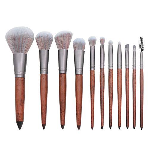 Cooljun Lot de pinceaux à maquillage - 11/12 pièces avec poignée en bambou synthétique premium - Pour les fonds de teint, pinceaux à fard à joues et correcteur pour œil (11Pcs)