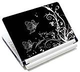 MySleeveDesign Notebook Skin Aufkleber Folie Sticker für Geräte der Größe 10,2 Zoll / 11,6-12,1 Zoll / 13,3 Zoll / 14 Zoll / 15,4-15,6 Zoll mit VERSCH. DESIGNS - Butterfly White