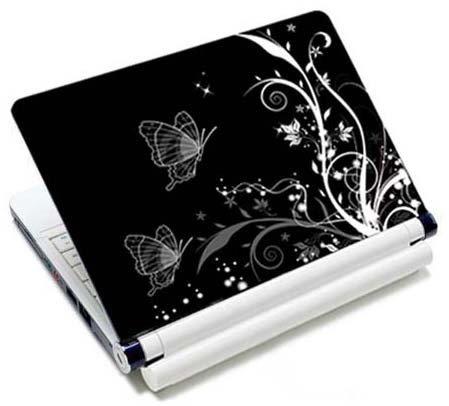 MySleeveDesign Notebook Skin Aufkleber Folie Sticker für Geräte der Größe 10,2 Zoll / 11,6 - 12,1 Zoll / 13,3 Zoll / 14 Zoll / 15,4 - 15,6 Zoll mit VERSCH. DESIGNS - Butterfly White