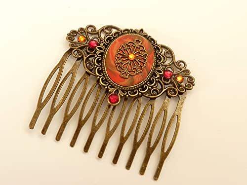 Pettine per capelli in stile antico con ornamento in bronzo arancione