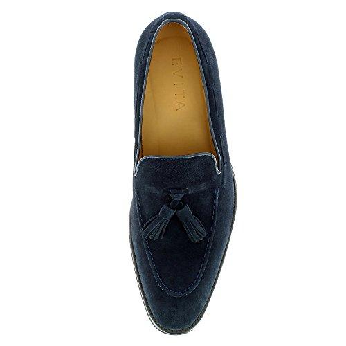 Evita Shoes Stefano Herren Slipper Rauleder Blau