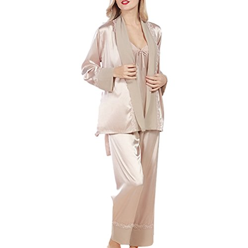 Zhhlinyuan Fashion Sleepwear Nightwear Satin and Chiffon Ladies Pyjamas Set Camel