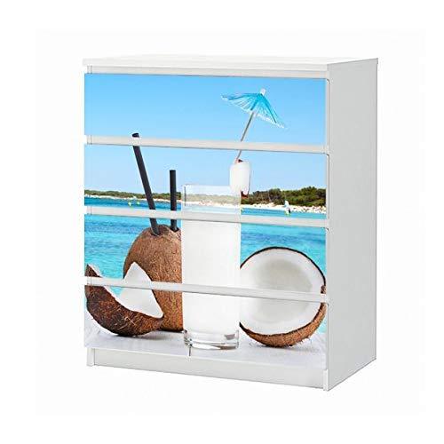 Set Möbelaufkleber für Ikea Kommode MALM 4 Fächer/Schubladen Meer Urlaub Kokos Nuss Cocktail Steg Aufkleber Möbelfolie sticker (Ohne Möbel) Folie 25B790