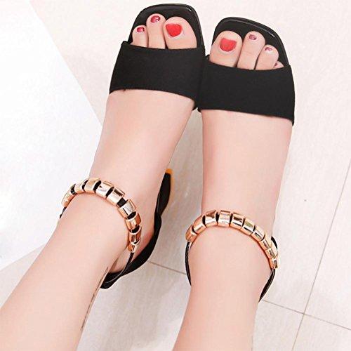 Sommer Sandalen dick mit offenem Zehen hochhackigen Schuhfrauensandelholze Wort Gurt Schuhe Black
