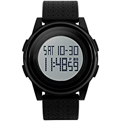 SNE Men's Digital Dual Time Ultra Thin Simple Sports MultiFunction Waterproof Big Dial Black Wrist Watch 1206