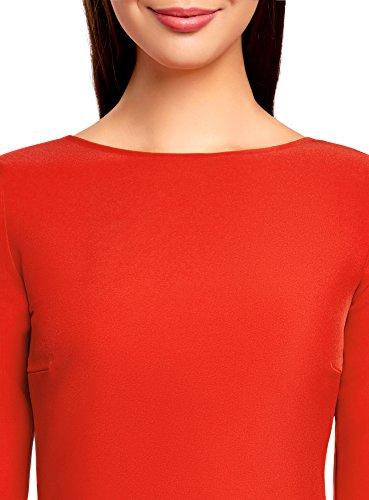 oodji Ultra Femme Robe Évasée avec Ouverture dans le Dos Rouge (4500N)