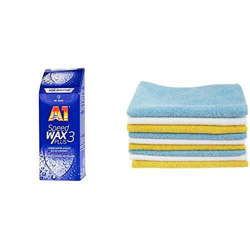 Dr. Wack - A1 Speed Wax Plus 3, 500 ml (#2630) & AmazonBasics Mikrofaser-Reinigungstücher, 12 Stück