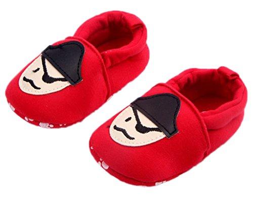 Smile YKK Baumwolle Cartoon Stil Baby-Unisex Lauflernschuhe 12 Weiss Rot