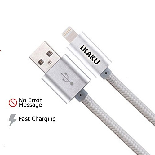 BEST VALUE BRAIDED LIGHTING SYNC DATA CABLE (SILVER) USB CHARGER FOR IPHONE 5 5S 5C 6 6S 6S+ IPAD PRO IPAD MINI 4 IPAD AIR 2 IPAD AIR 1 IPAD 4 IPAD MINI 3 IPAD MINI 2 IPAD MINI