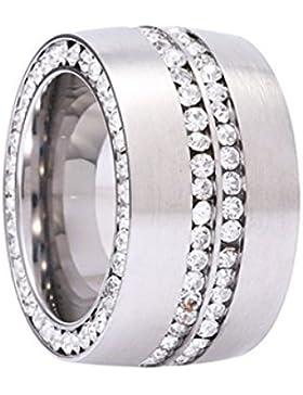 Ring Rush Edelstahl Damen Ringe strass frauen silber ring Stein breite Massive Chrystal Rose