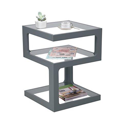 Aspekt Rossini Triple Level Seite Kaffee Ende Lampe Tisch, Holz, Grau, 40x 40x 52cm (Grau-holz-kaffee-tisch)