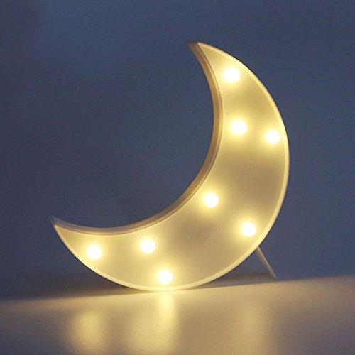 XIYUNTE Mondform Nachtlichter - LED Mond Tischlampe Kinder Nachtlichter 3D Cute Wandleuchte Warm White Marquee Ligths Batteriebetriebene Nachttischlampen für Mädchen Schlafzimmer