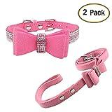 Newtensina Weich Flieges Hundehalsband und Leine Set Süß Flieges Halsband mit Diamant für Hunde Katzen - Pink - S