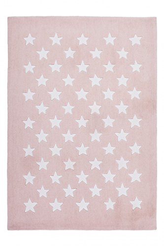 Kinderteppich dichtem Puderrosa Flor Handgefertigt Look Motiv Stern seidigem, Größe:120cm x 120cm