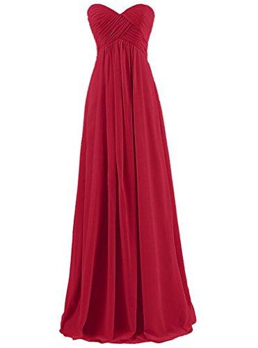 AIYUE Abito Donna Vestiti Estivi Eleganti Lunghi Di Chiffon Senza Maniche Da Sera Cerimonia Ballo Cocktail Dress Vestito Maxi (XXL, vino rosso)