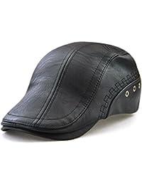 Roffatide Engranaje Costura Cuero de la PU Ajustable Plano Gorra Sombrero  de Boina Golf Chapelas dc934d4d62d