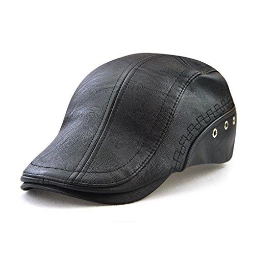 Roffatide Engranaje Costura Cuero de la PU Ajustable Plano Gorra Sombrero de Boina Golf Chapelas Negro