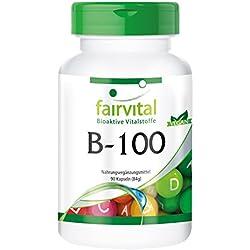 B-100, vegan, Vitamin B-Komplex, B1 (Thiamin), B2 (Riboflavin), B3 (Niacin), B5 (Pantothensäure), VB6 (Pyridoxin), B7 (Biotin), B9 (Folsäure), B12 (Cobalamin) - Immunsystem, Nervensystem, Stoffwechsel