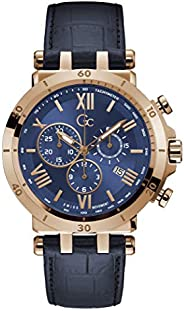 Gc Mens Quartz Watch, Chronograph Display And Leather Strap - Y44003G7MF