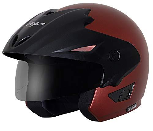 Vega Cruiser Open Face Helmet with Peak (Dull Burgundy, M)