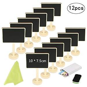 12 Mini Tafel Set,KAKOO Holz Kreidetafel zum Beschriften Memotafel Klein Schieftafel als Tischkarte Platzkarte…