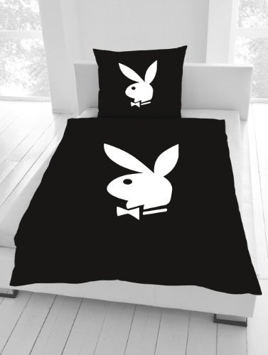 Bettwäsche Playboy Classic Bunny schwarz 135 x 200 cm NEU WOW