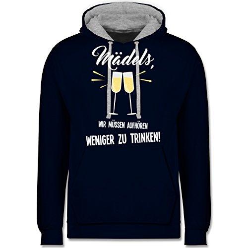 Statement Shirts - Mädels, wir müssen aufhören weniger zu trinken - Kontrast Hoodie Dunkelblau/Grau meliert