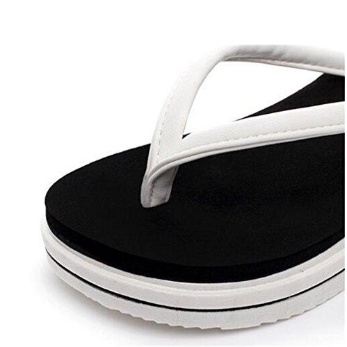 Boowhol Damen Zehentrenner Sandalen Sommerschuh Flip-flops mit absatz,Weiß Cremefarbig