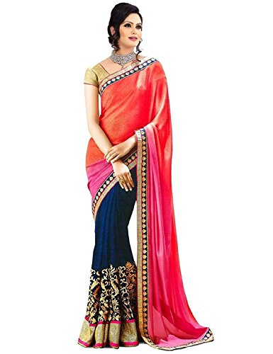 White World Women\'s Georgette Saree With Blouse Piece