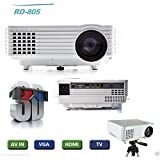 Myra M805 800 LM 800x480 Home Theater LED Projector With Remote Controller, Support HDMI, VGA, AV, USB Interfaces, Red & Blue 3D Supported
