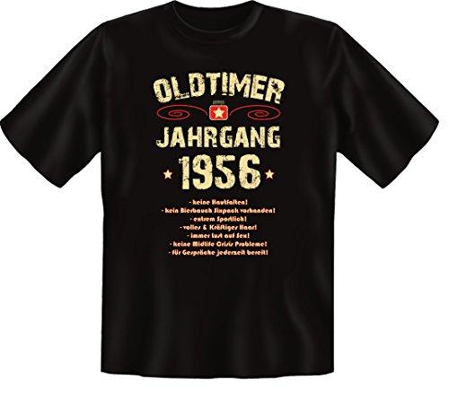Zum 60 Geburtstag, Oldtimer / Jahrgang 1956, Elegante Herren Fun-t-shirts als Geschenk zum Geburtstag mit Coolem-Sprüche-Motiv:, , Schwarz