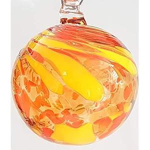 Oberstdorfer Glashütte Kugel zum hängen Fensterkugel Bunte Glaskugel gelb orange mundgeblasenes Kristallglas Fensterdekoration Durchmesser ca. 13 cm