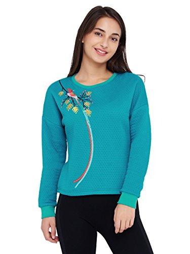 Chumbak Bird Embroidered Blue Drop Shoulder Sweatshirt