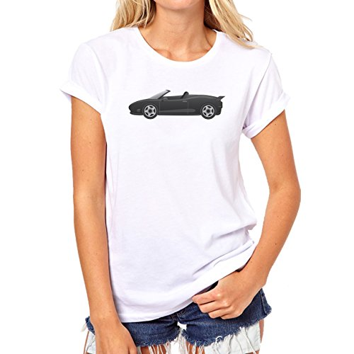 Car Vehicle Four Wheels Auto Black Convertable Damen T-Shirt Weiß