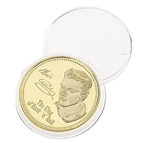 Hestiouk 1PC Elvis Presley 1935-1977 The King of N Rock Roll Gold Commemorative Coin Gift