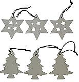 khevga Christbaumschmuck weiß aus Porzellan - Weihnachtsbaumschmuck Sterne Tanne