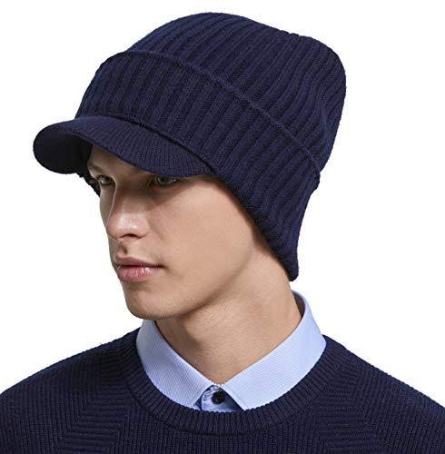 0c4f5435 RIONA Men's Soild 100% Australian Merino Wool Knit Cuffed Visor Beanie Hat  with Visor Warm
